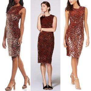 NWT Vince Camuto Velvet Sequin Animal-Print Dress